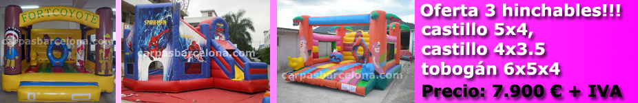 For Sale and manufacture of inflatable advertising produce exclusive designs as either infantile or advertising, design tents throughout Spain purchase and sale of inflatable products for recreation, attractions, castles, slides,